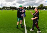 26 July 2020; Usher Celtic manager Wesley Doyle, left, and Gorey Rangers manager Ben Casserly bump fists following during the FAI New Balance Junior Cup Quarter-Final match between Usher Celtic and Gorey Rangers at Grangegorman IT in Dublin. Competitive Soccer matches have been approved to return following the guidelines of Phase 3 of the Irish Government's Roadmap for Reopening of Society and Business and protocols set down by the Soccer governing authorities. With games having been suspended since March, competitive games can take place with updated protocols including a limit of 200 individuals at any one outdoor event, including players, officials and a limited number of spectators, with social distancing, hand sanitisation and face masks being worn by those in attendance among other measures in an effort to contain the spread of the Coronavirus (COVID-19). Photo by Sam Barnes/Sportsfile