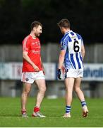 25 July 2020; Jack McCaffrey of Clontarf and Robbie McDaid of Ballyboden St Enda's during the Dublin County Senior Football Championship Round 1 match between Ballyboden St Endas and Clontarf at Pairc Uí Mhurchu in Dublin. GAA matches continue to take place in front of a limited number of people in an effort to contain the spread of the Coronavirus (COVID-19) pandemic. Photo by David Fitzgerald/Sportsfile