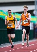 25 July 2020; Tom McCutcheon of Nenagh Olympic AC, Tipperary, right, and Brendan O'Donoghue of Leevale AC, Cork, competing in the U17 Boys 200m event during the Summer Games Athletics Meet at Moyne AC in Tipperary. Photo by Piaras Ó Mídheach/Sportsfile