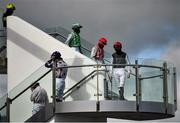 27 July 2020; Jockeys make their way to the parade prior to the Claregalwayhotel.ie Irish EBF (C & G) Maiden on day one of the Galway Summer Racing Festival at Ballybrit Racecourse in Galway. Horse racing remains behind closed doors to the public under guidelines of the Irish Government in an effort to contain the spread of the Coronavirus (COVID-19) pandemic. Photo by Harry Murphy/Sportsfile
