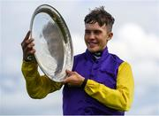 27 July 2020; Finny Maguire poses with the shield after riding Princess Zoe to win the Connacht Hotel (Q.R.) Handicap on day one of the Galway Summer Racing Festival at Ballybrit Racecourse in Galway. Horse racing remains behind closed doors to the public under guidelines of the Irish Government in an effort to contain the spread of the Coronavirus (COVID-19) pandemic. Photo by Harry Murphy/Sportsfile