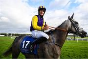 27 July 2020; Finny Maguire on Princess Zoe celebrates winning the Connacht Hotel (Q.R.) Handicap on day one of the Galway Summer Racing Festival at Ballybrit Racecourse in Galway. Horse racing remains behind closed doors to the public under guidelines of the Irish Government in an effort to contain the spread of the Coronavirus (COVID-19) pandemic. Photo by Harry Murphy/Sportsfile