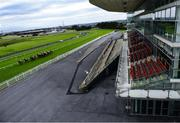 27 July 2020; A general view as runners and riders pass the empty Killanin Stand during the Monami Construction (Q.R.) Maiden on day one of the Galway Summer Racing Festival at Ballybrit Racecourse in Galway. Horse racing remains behind closed doors to the public under guidelines of the Irish Government in an effort to contain the spread of the Coronavirus (COVID-19) pandemic. Photo by Harry Murphy/Sportsfile