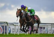 28 July 2020; Walking On Glass, with Leigh Roche up, right, leads Conron, with Shane Foley up, who finished second, on their way to winning the Latin Quarter Handicap on day two of the Galway Summer Racing Festival at Ballybrit Racecourse in Galway. Horse racing remains behind closed doors to the public under guidelines of the Irish Government in an effort to contain the spread of the Coronavirus (COVID-19) pandemic. Photo by Harry Murphy/Sportsfile