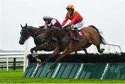 29 July 2020; Bon Retour, right, with Paul Townend up, jumps the 1st on their way to winning the Play The Tote Trifecta Handicap Hurdle ahead of Summer Hill, with Danny Mullins up, on day three of the Galway Summer Racing Festival at Ballybrit Racecourse in Galway. Horse racing remains behind closed doors to the public under guidelines of the Irish Government in an effort to contain the spread of the Coronavirus (COVID-19) pandemic. Photo by Harry Murphy/Sportsfile