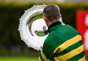 29 July 2020; Jockey Mark Walsh lifts the Galway Plate after winning the Tote Galway Plate on Early Doors on day three of the Galway Summer Racing Festival at Ballybrit Racecourse in Galway. Horse racing remains behind closed doors to the public under guidelines of the Irish Government in an effort to contain the spread of the Coronavirus (COVID-19) pandemic. Photo by Harry Murphy/Sportsfile