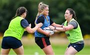 30 July 2020; Eve Tarpey, centre, during a Leinster U18 Girls Squad Training session at Cill Dara RFC in Kildare. Photo by Piaras Ó Mídheach/Sportsfile