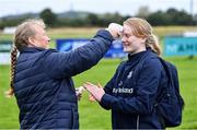 30 July 2020; Aoife Wafer has her temperature checked by coach Samantha Wafer before a Leinster U18 Girls Squad Training session at Cill Dara RFC in Kildare. Photo by Piaras Ó Mídheach/Sportsfile
