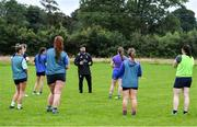 30 July 2020; Coach Michael Bolger speaks to his players during a Leinster U18 Girls Squad Training session at Cill Dara RFC in Kildare. Photo by Piaras Ó Mídheach/Sportsfile
