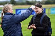 30 July 2020; Vicky Kinlan has her temperature checked by coach Samantha Wafer before a Leinster U18 Girls Squad Training session at Cill Dara RFC in Kildare. Photo by Piaras Ó Mídheach/Sportsfile