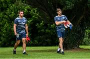 30 July 2020; Ross Byrne, right, and Ronan Kelleher make their way to Leinster Rugby squad training at UCD in Dublin. Professional rugby continues its return in a phased manner, having been suspended since March due to the Irish Government's efforts to contain the spread of the Coronavirus (COVID-19) pandemic. Having had zero positive results from the latest round of PCR testing, the Leinster Rugby players and staff have been cleared to enter the next phase of their return to rugby today which includes a graduated return to contact training. Photo by Marcus Ó Buachalla for Leinster Rugby via Sportsfile