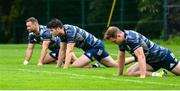 30 July 2020; Harry Byrne with team-mates Dave Kearney, left, and Rory O'Loughlin, right, during Leinster Rugby squad training at UCD in Dublin. Professional rugby continues its return in a phased manner, having been suspended since March due to the Irish Government's efforts to contain the spread of the Coronavirus (COVID-19) pandemic. Having had zero positive results from the latest round of PCR testing, the Leinster Rugby players and staff have been cleared to enter the next phase of their return to rugby today which includes a graduated return to contact training. Photo by Conor Sharkey for Leinster Rugby via Sportsfile