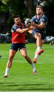 30 July 2020; Jordan Larmour in action against Cian Kelleher during Leinster Rugby squad training at UCD in Dublin. Professional rugby continues its return in a phased manner, having been suspended since March due to the Irish Government's efforts to contain the spread of the Coronavirus (COVID-19) pandemic. Having had zero positive results from the latest round of PCR testing, the Leinster Rugby players and staff have been cleared to enter the next phase of their return to rugby today which includes a graduated return to contact training. Photo by Conor Sharkey for Leinster Rugby via Sportsfile