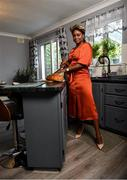 30 July 2020; Miss Galway 2020 Pamela Uba pictured at home in her outfit for the 2020 Galway Races Ladies' Day, which has now had to go virtual / online due to horse racing continuing behind closed doors on the advice of the Irish Government in an effort to contain the spread of the Coronavirus. Photo by Harry Murphy/Sportsfile