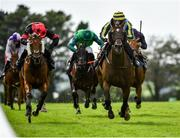 30 July 2020; Guinevere, with Simon Torrens up, right, lead Politicise, with Darragh O'Keeffe up, on their way to winning the Guinness Novice Hurdle on day four of the Galway Summer Racing Festival at Ballybrit Racecourse in Galway. Horse racing remains behind closed doors to the public under guidelines of the Irish Government in an effort to contain the spread of the Coronavirus (COVID-19) pandemic. Photo by Harry Murphy/Sportsfile