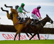 30 July 2020; Russian Diamond, with David Mullins up, left, falls at the fourth fence, alongside Scheu Time, with Gearoid Brouder up, who finished fifth, during the Rockshore Novice Steeplechase on day four of the Galway Summer Racing Festival at Ballybrit Racecourse in Galway. Horse racing remains behind closed doors to the public under guidelines of the Irish Government in an effort to contain the spread of the Coronavirus (COVID-19) pandemic. Photo by Harry Murphy/Sportsfile
