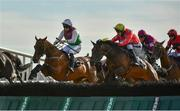 30 July 2020; Aramon, left, with Patrick Mullins up, jumps alongside Fair Mountain, with JJ Slevin up, who finished eleventh, on their way to winning Guinness Galway Hurdle Handicap on day four of the Galway Summer Racing Festival at Ballybrit Racecourse in Galway. Horse racing remains behind closed doors to the public under guidelines of the Irish Government in an effort to contain the spread of the Coronavirus (COVID-19) pandemic. Photo by Harry Murphy/Sportsfile