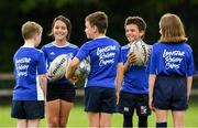 31 July 2020; Camp participants from left Jamie Duggan, age 10, Elouise Connolly, age 9, Ruaraidh McArdle Moore, age 9, Culi Langan Given, age 9, and Ciara Byrne, age 10, during a Bank of Ireland Leinster Rugby Summer Camp at Coolmine RFC in Dublin. Photo by Matt Browne/Sportsfile