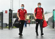31 July 2020; Conor Clifford, left, and Joe Thomson of Derry City arrive prior to during the SSE Airtricity League Premier Division match between Derry City and Sligo Rovers at the Ryan McBride Brandywell Stadium in Derry. The SSE Airtricity League Premier Division made its return today after 146 days in lockdown but behind closed doors due to the ongoing Coronavirus restrictions. Photo by Seb Daly/Sportsfile