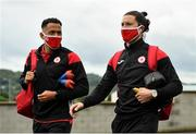 31 July 2020; Will Seymour, left, and Ronan Coughlan of Sligo Rovers arrive prior to the SSE Airtricity League Premier Division match between Derry City and Sligo Rovers at the Ryan McBride Brandywell Stadium in Derry. The SSE Airtricity League Premier Division made its return today after 146 days in lockdown but behind closed doors due to the ongoing Coronavirus restrictions. Photo by Seb Daly/Sportsfile