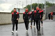 31 July 2020; Sligo Rovers players, from left, David Cawley, Jesse Devers and Darren Collins arrive prior to the SSE Airtricity League Premier Division match between Derry City and Sligo Rovers at the Ryan McBride Brandywell Stadium in Derry. The SSE Airtricity League Premier Division made its return today after 146 days in lockdown but behind closed doors due to the ongoing Coronavirus restrictions. Photo by Seb Daly/Sportsfile