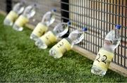 31 July 2020; A view of individual player's bottles of water showing their squad number prior to the SSE Airtricity League Premier Division match between Derry City and Sligo Rovers at the Ryan McBride Brandywell Stadium in Derry. The SSE Airtricity League Premier Division made its return today after 146 days in lockdown but behind closed doors due to the ongoing Coronavirus restrictions. Photo by Seb Daly/Sportsfile