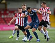 31 July 2020; Will Seymour of Sligo Rovers in action against Conor Clifford, left, and Joe Thomson of Derry City during the SSE Airtricity League Premier Division match between Derry City and Sligo Rovers at the Ryan McBride Brandywell Stadium in Derry. The SSE Airtricity League Premier Division made its return today after 146 days in lockdown but behind closed doors due to the ongoing Coronavirus restrictions. Photo by Seb Daly/Sportsfile