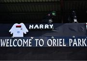 31 July 2020; A floral tribute hangs on the TV gantry at Oriel Park in tribute to the late Dundalk groundsman and videographer Harry Taaffe prior to the SSE Airtricity League Premier Division match between Dundalk and St Patrick's Athletic at Oriel Park in Dundalk, Louth. The SSE Airtricity League Premier Division made its return today after 146 days in lockdown but behind closed doors due to the ongoing Coronavirus restrictions. Photo by Stephen McCarthy/Sportsfile