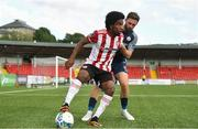 31 July 2020; Walter Figueira of Derry City in action against Kyle Callan-McFadden of Sligo Rovers during the SSE Airtricity League Premier Division match between Derry City and Sligo Rovers at the Ryan McBride Brandywell Stadium in Derry. The SSE Airtricity League Premier Division made its return today after 146 days in lockdown but behind closed doors due to the ongoing Coronavirus restrictions. Photo by Seb Daly/Sportsfile