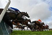 31 July 2020; A general view of the runners and riders as they jump the seventh during the Guinness Galway Tribes Handicap Hurdle on Great White Shark on day five of the Galway Summer Racing Festival at Ballybrit Racecourse in Galway. Horse racing remains behind closed doors to the public under guidelines of the Irish Government in an effort to contain the spread of the Coronavirus (COVID-19) pandemic. Photo by Harry Murphy/Sportsfile