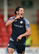 31 July 2020; Ronan Coughlan of Sligo Rovers celebrates after scoring his side's second goal during the SSE Airtricity League Premier Division match between Derry City and Sligo Rovers at the Ryan McBride Brandywell Stadium in Derry. The SSE Airtricity League Premier Division made its return today after 146 days in lockdown but behind closed doors due to the ongoing Coronavirus restrictions. Photo by Seb Daly/Sportsfile