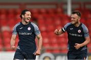31 July 2020; Ronan Coughlan of Sligo Rovers, left, celebrates with team-mate David Cawley after scoring his side's second goal during the SSE Airtricity League Premier Division match between Derry City and Sligo Rovers at the Ryan McBride Brandywell Stadium in Derry. The SSE Airtricity League Premier Division made its return today after 146 days in lockdown but behind closed doors due to the ongoing Coronavirus restrictions. Photo by Seb Daly/Sportsfile