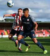31 July 2020; Ryan De Vries of Sligo Rovers in action against Jack Malone of Derry City during the SSE Airtricity League Premier Division match between Derry City and Sligo Rovers at the Ryan McBride Brandywell Stadium in Derry. The SSE Airtricity League Premier Division made its return today after 146 days in lockdown but behind closed doors due to the ongoing Coronavirus restrictions. Photo by Seb Daly/Sportsfile