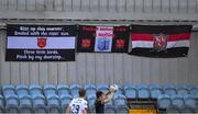 31 July 2020; Empty seats, near The Shed where Dundalk supporters would usually be, during the SSE Airtricity League Premier Division match between Dundalk and St Patrick's Athletic at Oriel Park in Dundalk, Louth. The SSE Airtricity League Premier Division made its return today after 146 days in lockdown but behind closed doors due to the ongoing Coronavirus restrictions. Photo by Piaras Ó Mídheach/Sportsfile