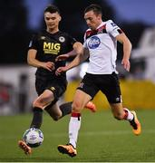 31 July 2020; David McMillan of Dundalk in action against Luke McNally of St Patrick's Athletic during the SSE Airtricity League Premier Division match between Dundalk and St Patrick's Athletic at Oriel Park in Dundalk, Louth. The SSE Airtricity League Premier Division made its return today after 146 days in lockdown but behind closed doors due to the ongoing Coronavirus restrictions. Photo by Piaras Ó Mídheach/Sportsfile