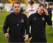 31 July 2020; Dundalk head coach Vinny Perth and assistant manager Alan Reynolds, right, following the SSE Airtricity League Premier Division match between Dundalk and St Patrick's Athletic at Oriel Park in Dundalk, Louth. The SSE Airtricity League Premier Division made its return today after 146 days in lockdown but behind closed doors due to the ongoing Coronavirus restrictions.  Photo by Stephen McCarthy/Sportsfile