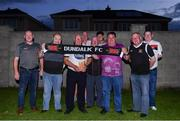 """31 July 2020; Dundalk supporters, known as """"The Tie Wrap Gang"""", from left, Ned Lawrence, Alan Gray, Gerry Curtis, Paul Brown, Owen Fee, Niall Brown, Gerry King, Donal Sweeney and Ciaran McIntyre after watching their side's SSE Airtricity League Premier Division match against St Patrick's Athletic at the home of former Dundalk co-owner Paul Brown in Dundalk, Louth. The match was played behind closed doors due to the ongoing COVID-19 pandemic. Photo by Ben McShane/Sportsfile"""