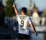 31 July 2020; Patrick Hoban of Dundalk dedicates his goal to the family of the late Dundalk groundsman and videographer Harry Taaffe during the SSE Airtricity League Premier Division match between Dundalk and St Patrick's Athletic at Oriel Park in Dundalk, Louth. The SSE Airtricity League Premier Division made its return today after 146 days in lockdown but behind closed doors due to the ongoing Coronavirus restrictions. Photo by Stephen McCarthy/Sportsfile