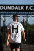 31 July 2020; Dundalk's Michael Duffy wears a t-shirt in tribute to the late Dundalk groundsman and videographer Harry Taaffe prior to the SSE Airtricity League Premier Division match between Dundalk and St Patrick's Athletic at Oriel Park in Dundalk, Louth. The SSE Airtricity League Premier Division made its return today after 146 days in lockdown but behind closed doors due to the ongoing Coronavirus restrictions. Photo by Stephen McCarthy/Sportsfile