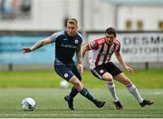 31 July 2020; Jesse Devers of Sligo Rovers in action against Ciarán Coll of Derry City during the SSE Airtricity League Premier Division match between Derry City and Sligo Rovers at the Ryan McBride Brandywell Stadium in Derry. The SSE Airtricity League Premier Division made its return today after 146 days in lockdown but behind closed doors due to the ongoing Coronavirus restrictions. Photo by Seb Daly/Sportsfile