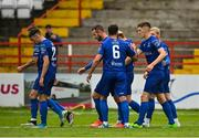 1 August 2020; John Martin of Waterford, right, is congratulated by team-mates after scoring his side's first goal during the SSE Airtricity League Premier Division match between Shelbourne and Waterford at Tolka Park in Dublin. The SSE Airtricity League Premier Division made its return this weekend after 146 days in lockdown but behind closed doors due to the ongoing Coronavirus restrictions. Photo by Seb Daly/Sportsfile