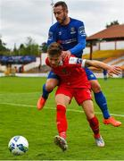1 August 2020; Luke Byrne of Shelbourne in action against Kurtis Byrne of Waterford during the SSE Airtricity League Premier Division match between Shelbourne and Waterford at Tolka Park in Dublin. The SSE Airtricity League Premier Division made its return this weekend after 146 days in lockdown but behind closed doors due to the ongoing Coronavirus restrictions. Photo by Seb Daly/Sportsfile