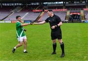 1 August 2020; Referee Anthony Coyne greets Moycullen captain Dessie Conneely before the Galway County Senior Football Championship Group 2 Round 1 match between Moycullen and Mícheál Breathnach's at Pearse Stadium in Galway. GAA matches continue to take place in front of a limited number of people in an effort to contain the spread of the Coronavirus (COVID-19) pandemic. Photo by Piaras Ó Mídheach/Sportsfile