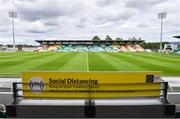 1 August 2020; A general view of Tallaght Stadium with social distancing signage prior to the SSE Airtricity League Premier Division match between Shamrock Rovers and Finn Harps at Tallaght Stadium in Dublin. The SSE Airtricity League Premier Division made its return this weekend after 146 days in lockdown but behind closed doors due to the ongoing Coronavirus restrictions. Photo by Stephen McCarthy/Sportsfile