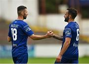 1 August 2020; Robbie McCourt, left, and Robbie Weir of Waterford congratulate each other following their side's victory during the SSE Airtricity League Premier Division match between Shelbourne and Waterford at Tolka Park in Dublin. The SSE Airtricity League Premier Division made its return this weekend after 146 days in lockdown but behind closed doors due to the ongoing Coronavirus restrictions. Photo by Seb Daly/Sportsfile