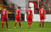 1 August 2020; Shelbourne players, from left, Dayle Rooney, Alex O'Hanlon, Aidan Friel and Sean Quinn leave the field following their side's defeat during the SSE Airtricity League Premier Division match between Shelbourne and Waterford at Tolka Park in Dublin. The SSE Airtricity League Premier Division made its return this weekend after 146 days in lockdown but behind closed doors due to the ongoing Coronavirus restrictions. Photo by Seb Daly/Sportsfile