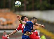 1 August 2020; Ryan Brennan of Shelbourne in action against Robbie McCourt of Waterford during the SSE Airtricity League Premier Division match between Shelbourne and Waterford at Tolka Park in Dublin. The SSE Airtricity League Premier Division made its return this weekend after 146 days in lockdown but behind closed doors due to the ongoing Coronavirus restrictions. Photo by Seb Daly/Sportsfile