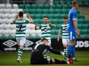 1 August 2020; Jack Byrne congratulates his Shamrock Rovers team-mate Dylan Watts, left, on scoring their second goal during the SSE Airtricity League Premier Division match between Shamrock Rovers and Finn Harps at Tallaght Stadium in Dublin. The SSE Airtricity League Premier Division made its return this weekend after 146 days in lockdown but behind closed doors due to the ongoing Coronavirus restrictions. Photo by Stephen McCarthy/Sportsfile