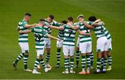 1 August 2020; Shamrock Rovers players huddle prior to the SSE Airtricity League Premier Division match between Shamrock Rovers and Finn Harps at Tallaght Stadium in Dublin. The SSE Airtricity League Premier Division made its return this weekend after 146 days in lockdown but behind closed doors due to the ongoing Coronavirus restrictions. Photo by Stephen McCarthy/Sportsfile