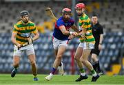 1 August 2020; James O'Carroll of Erin's Own in action against Tadhg Deasy, left, and Alan Connolly of Blackrock during the Cork County Senior Hurling Championship Group B Round 1 match between Blackrock and Erin's Own at Páirc Uí Rinn  in Cork. GAA matches continue to take place in front of a limited number of people due to the ongoing Coronavirus restrictions. Photo by Brendan Moran/Sportsfile